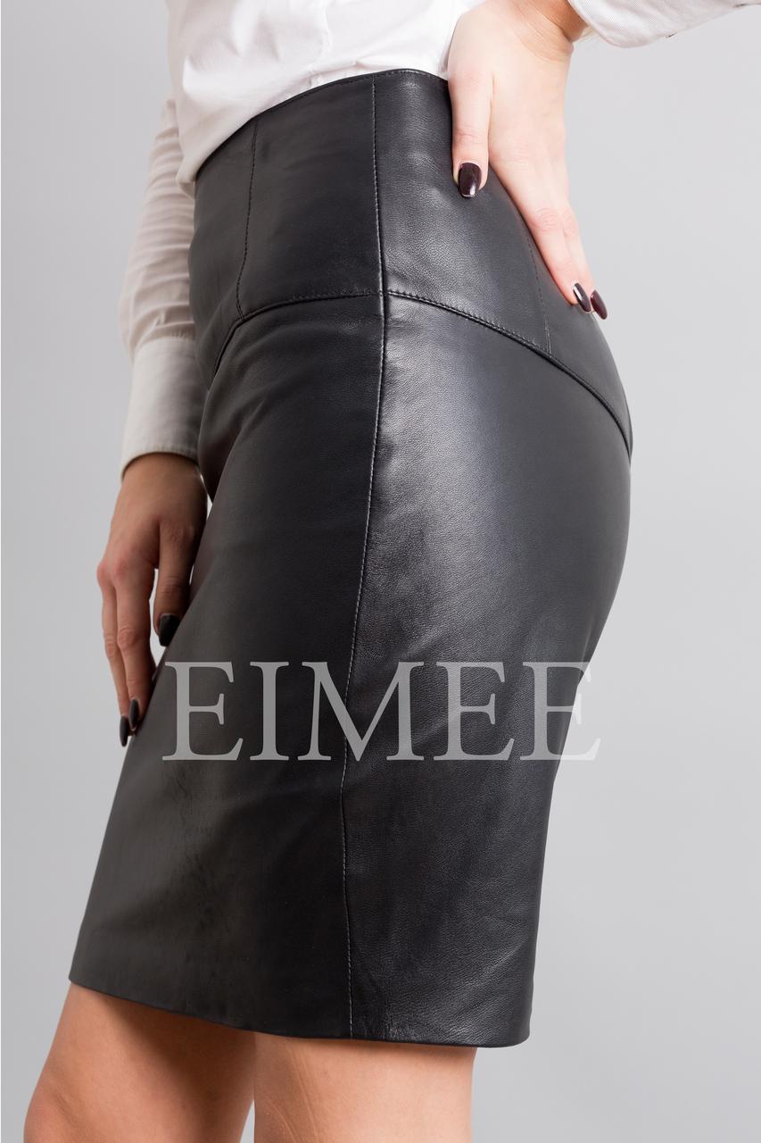 Full Grain Leather Sheath Office Skirt CHANI  side