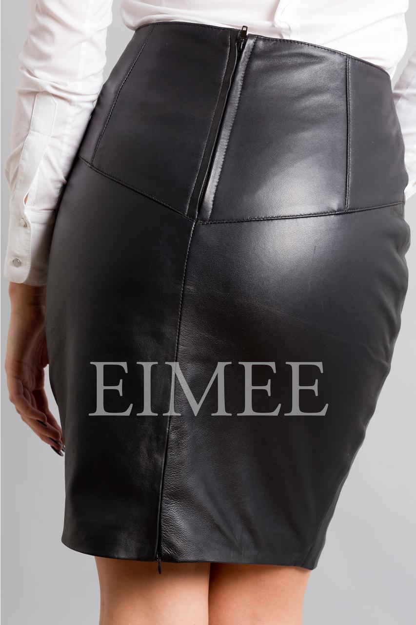 Full Grain Leather Sheath Office Skirt CHANI  back