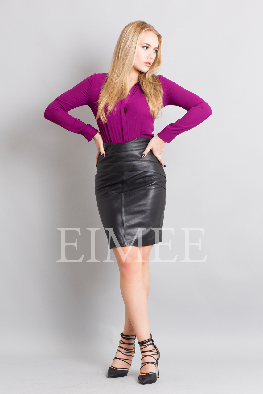 Full Grain Leather Pencil Skirt with Pattern ELLI front