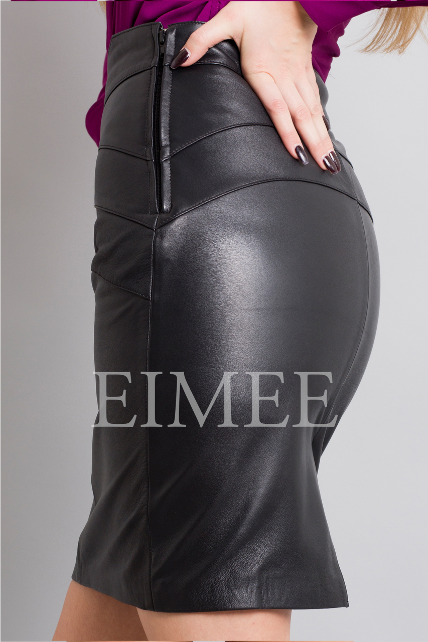 Full Grain Leather Pencil Skirt with Pattern ELLI side