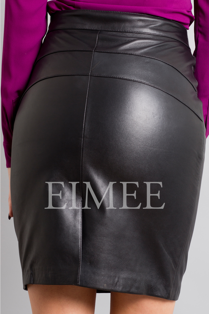 Full Grain Leather Pencil Skirt with Pattern ELLI back