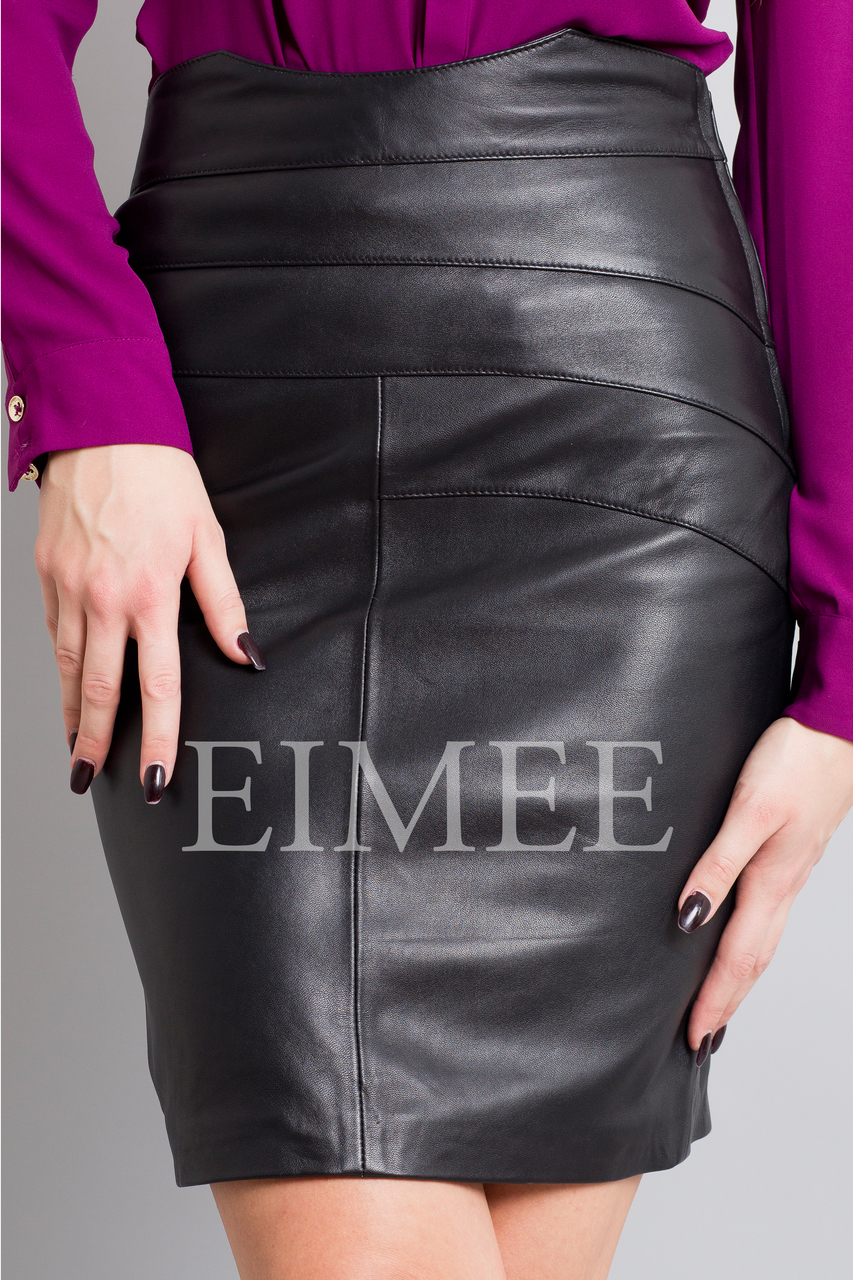Full Grain Leather Pencil Skirt with Pattern ELLI front detail