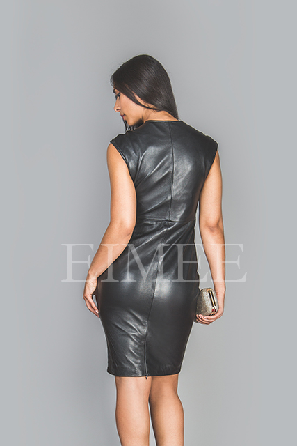 Soft Black Leather Dress Top Calf Length Burlesque CATRINA  back