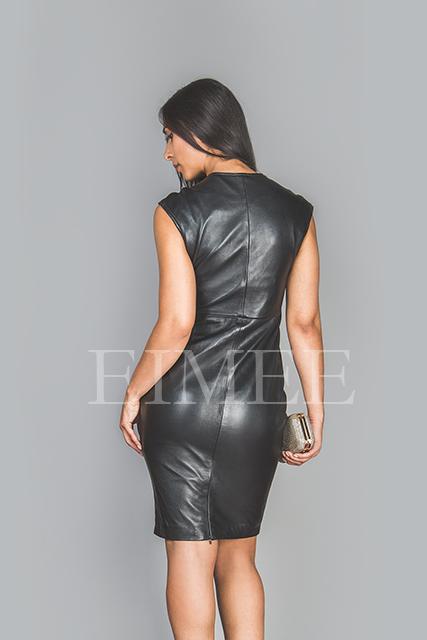 Soft Black Leather Dress Top Calf Length Burlesque CATRINA  back