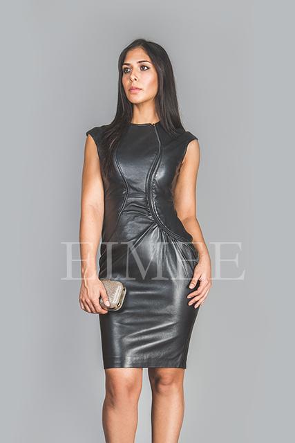 Soft Black Leather Dress Top Calf Length Burlesque CATRINA front detail