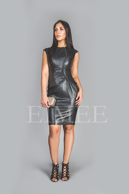 Soft Black Leather Dress Top Calf Length Burlesque CATRINA front