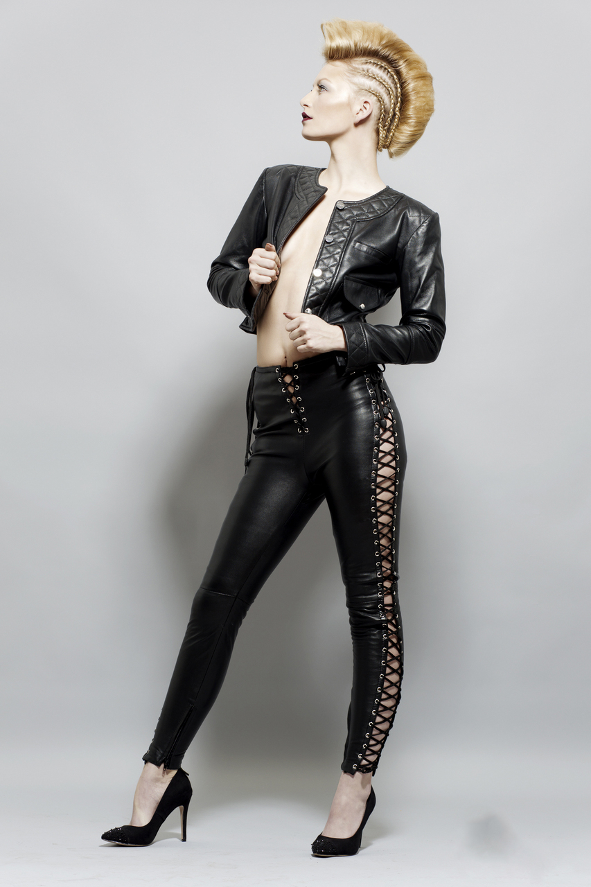 Full Grain Leather Leggings with laces LACEY image