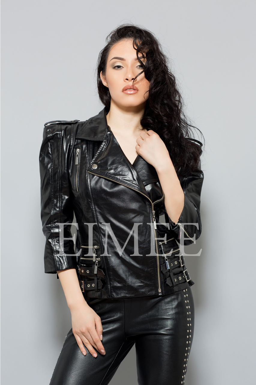 Ladies Leather Jacket LISTA front detail