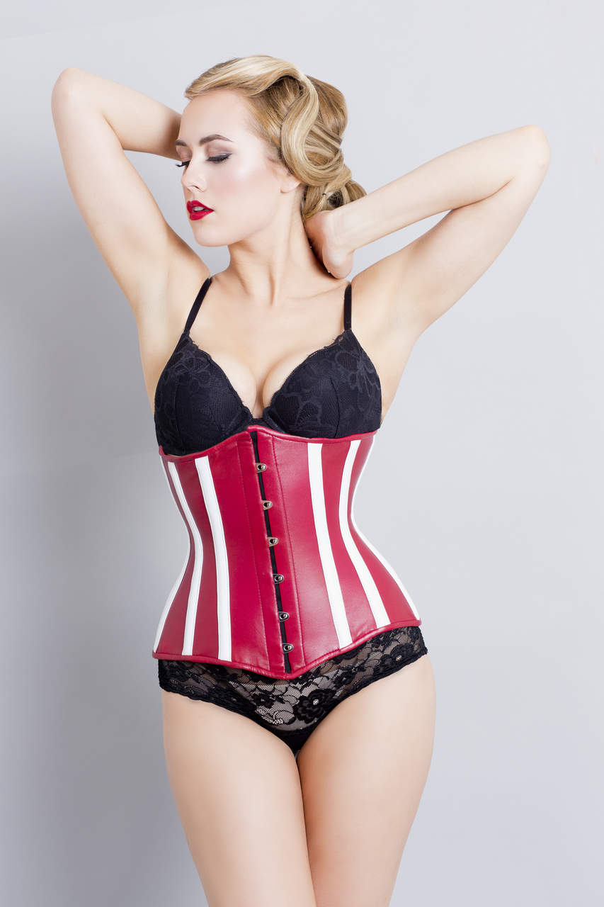 Leather Corset Red White Steel Boned - Front
