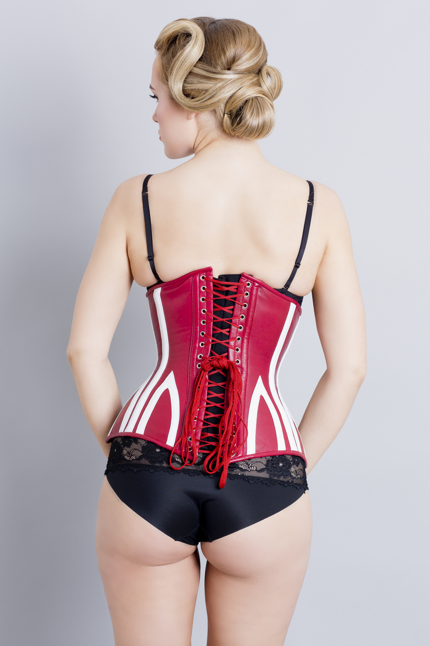 Leather Corset Red White Steel Boned - Back