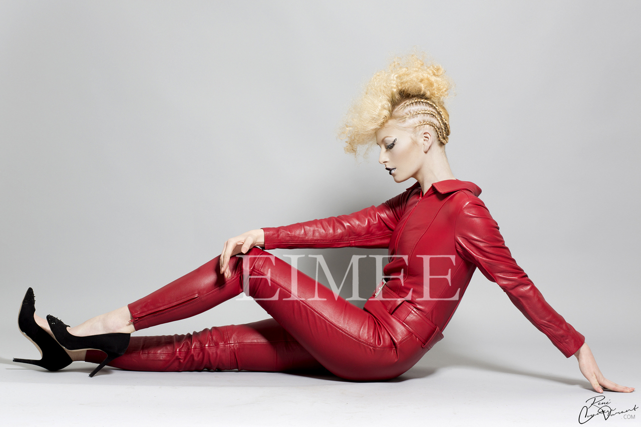 Red Leather Catsuit Dress Jumpsuit side view