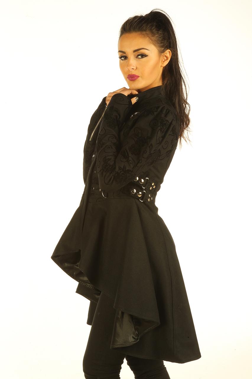 Black Cotton Gothic Steampunk Ladies Top Jacket
