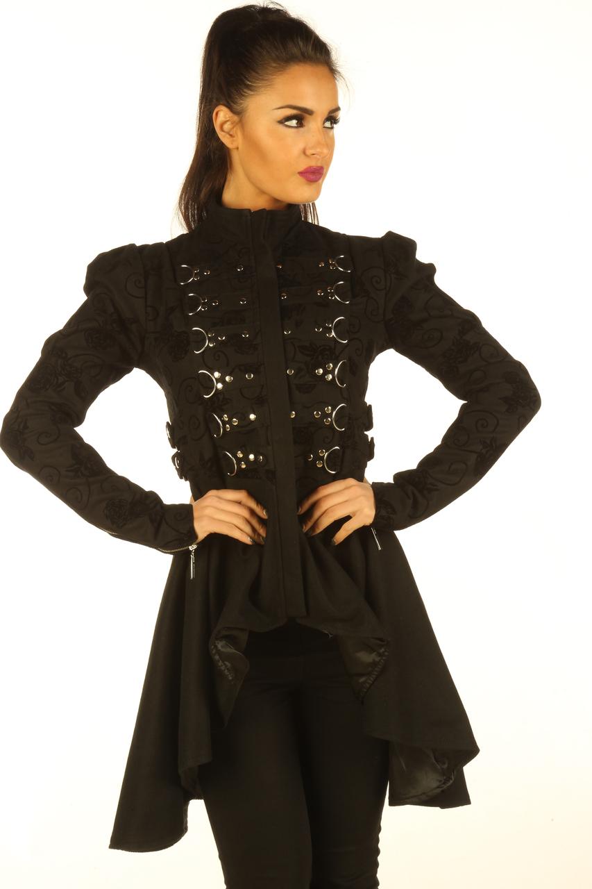 Black Cotton Gothic Steampunk Ladies Top Jacket image 2