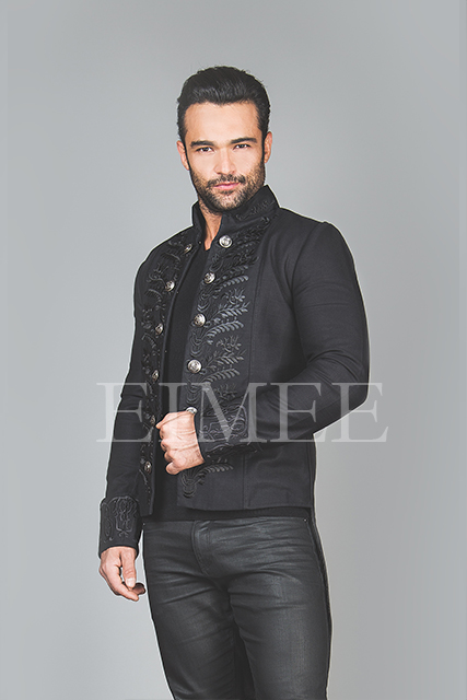 Black Cotton Mens Embroidered Outfit Vintage Wedding AREBB  image 2