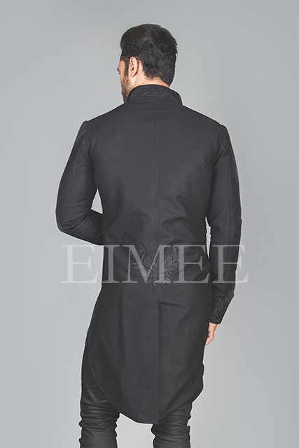 Black Cotton Mens Embroidered Outfit Vintage Wedding AREBB  image 3