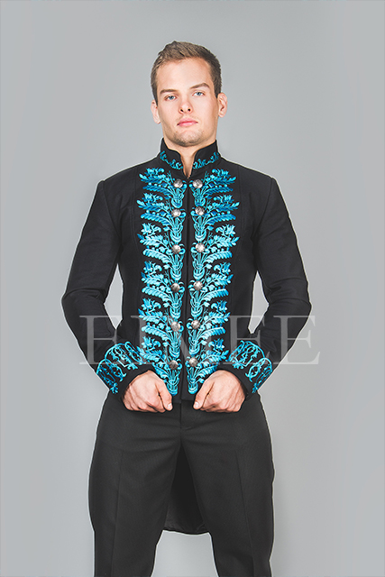 Mens Wedding Tailcoat Morning Dress Top Blue KENTZ image 4