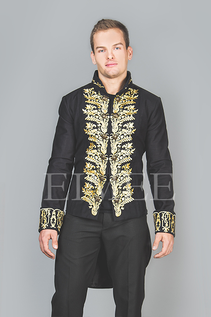 Tailcoat Black Cotton Mens Embroidered Outfit Vintage Wedding Dress KENTZ  image 2