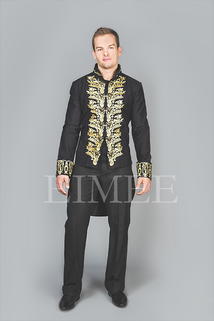 Tailcoat Black Cotton Mens Embroidered Outfit Vintage Wedding Dress KENTZ  image 3