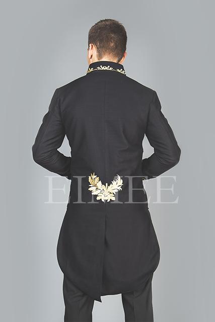 Tailcoat Black Cotton Mens Embroidered Outfit Vintage Wedding Dress KENTZ  image 4