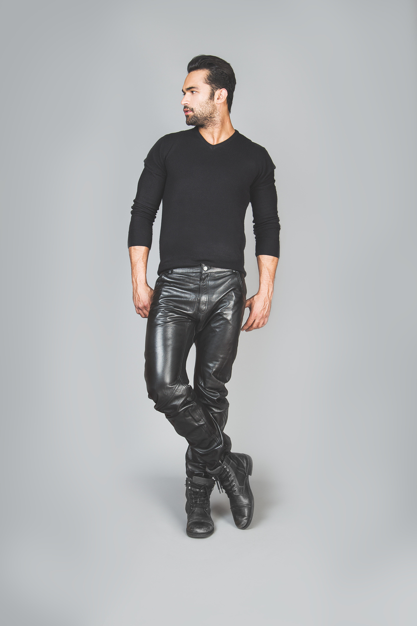 Mens leather trousers front 2