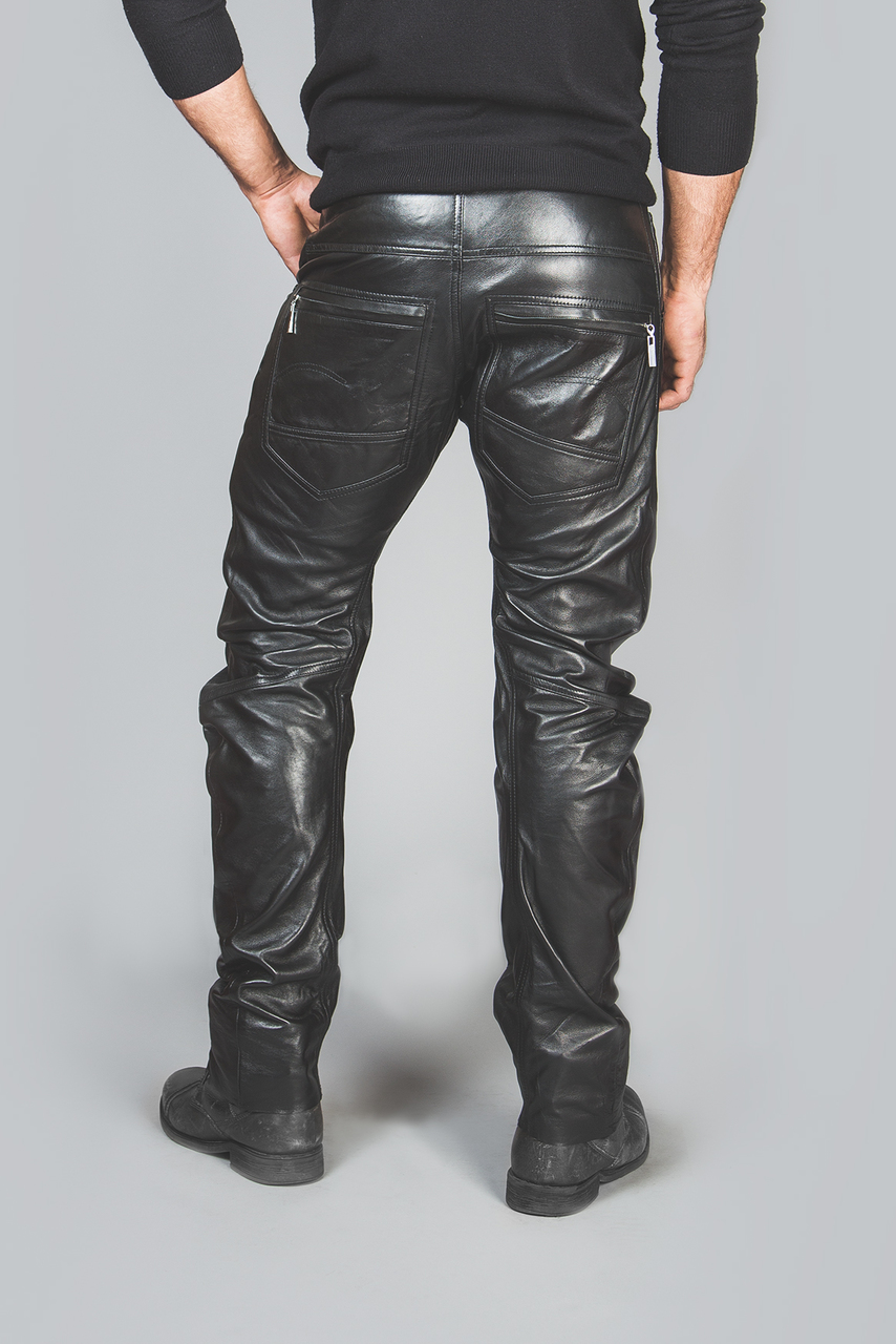 Mens leather trousers back 1