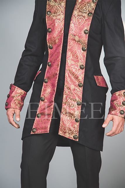 Cotton tailcoat Steampunk Jacket Maroon HARINGTON