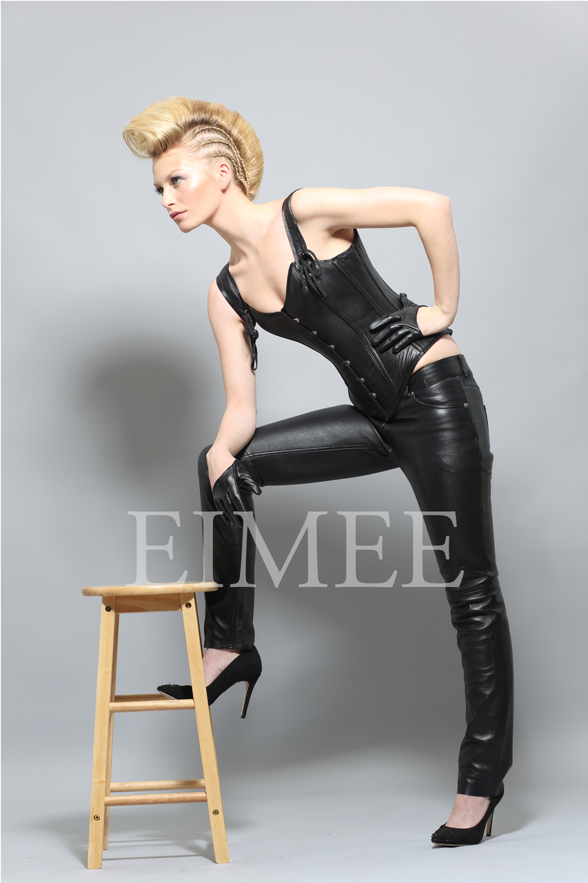 Overbust strapped Leather Corset GRACEY