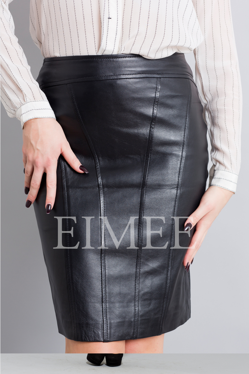 Full Grain Leather Pencil Skirt OREEN front detail