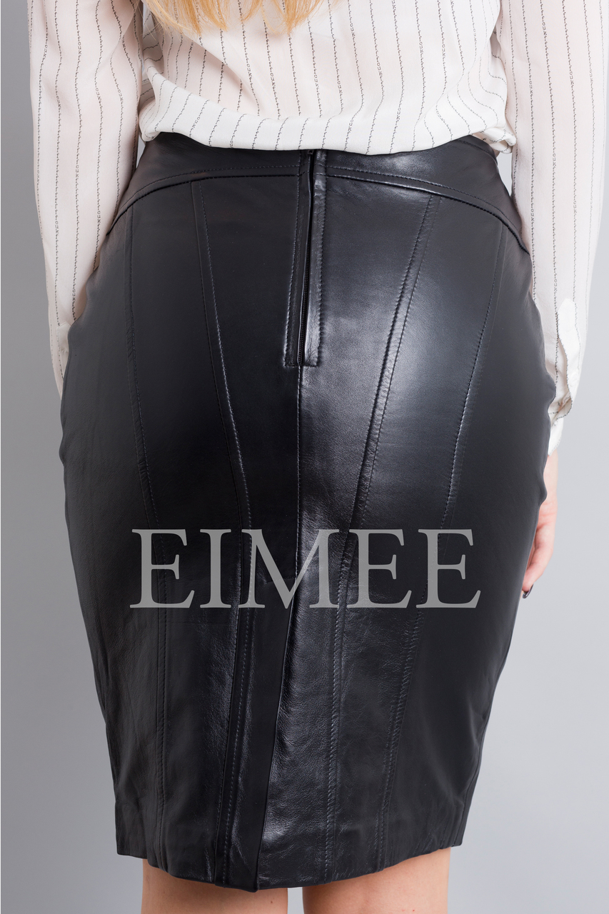 Full Grain Leather Pencil Skirt OREEN back detail