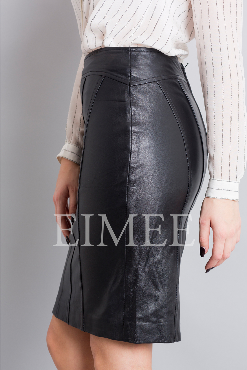 Full Grain Leather Pencil Skirt OREEN side