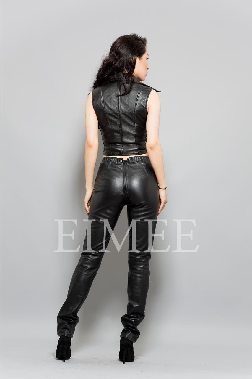 Soft Leather Short Waist Coat Womens Top MAHA  back view