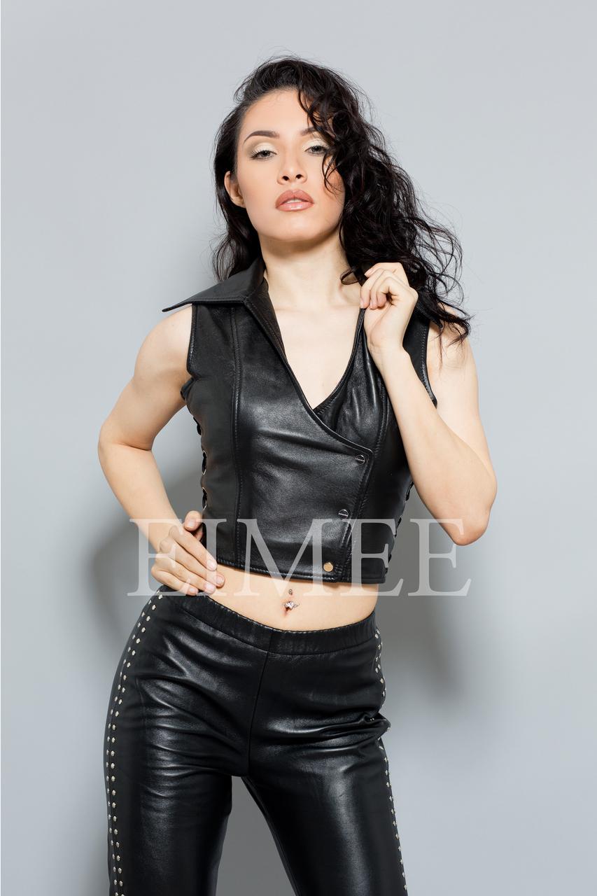 Soft Leather Short Waist Coat Womens Top MAHA  front