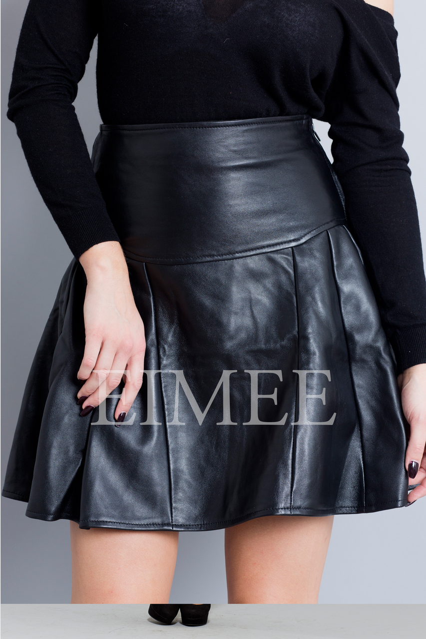 Black Leather Skirt High Waisted JAQUINEE detail view