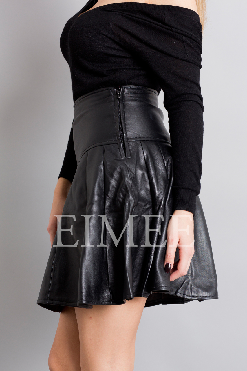 Black Leather Skirt High Waisted JAQUINEE side view