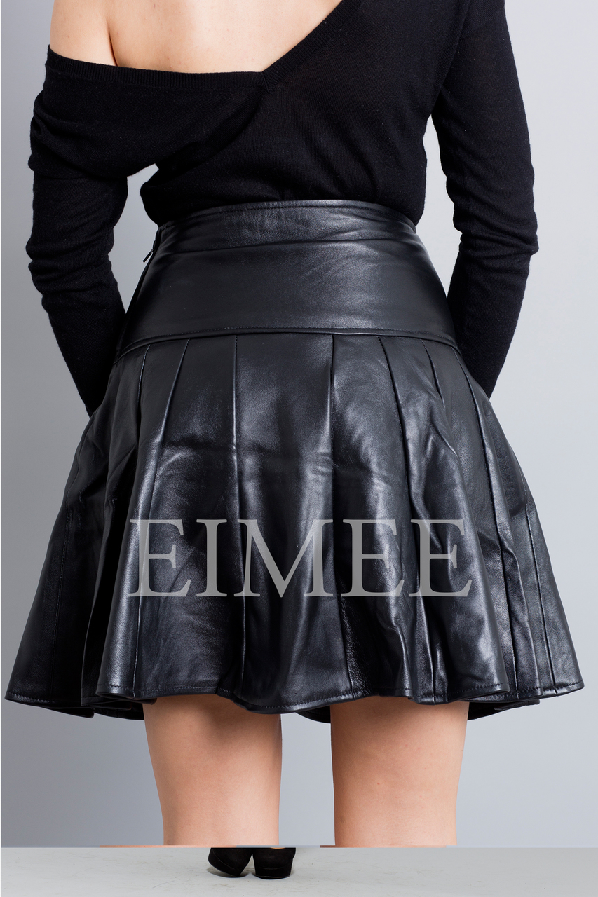 Black Leather Skirt High Waisted JAQUINEE back view