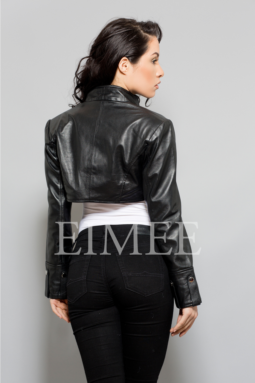 Ladies Leather bolero top bl18 ANNA back