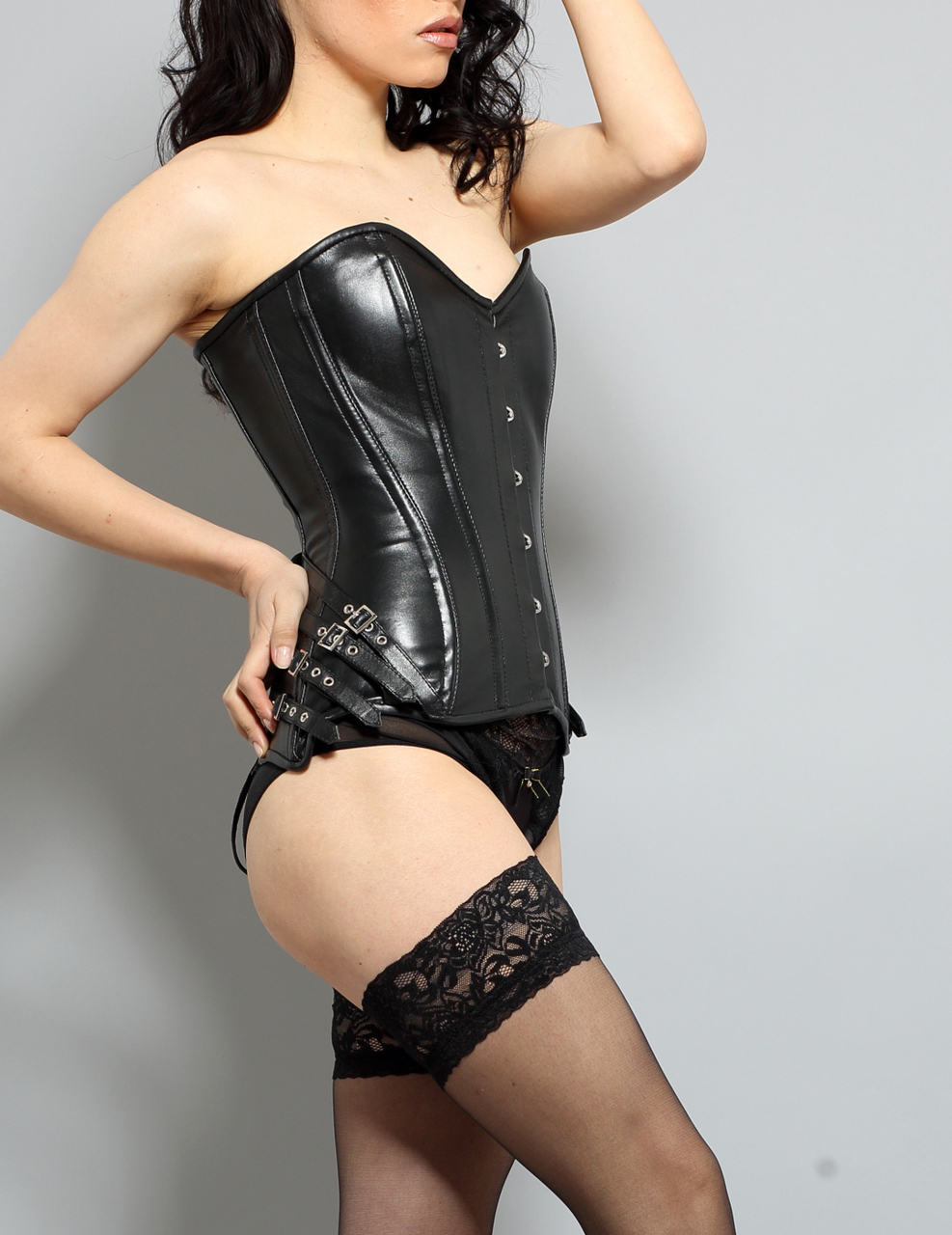 Leather Corset Steel Boned Buckles 41Blk ESSHA