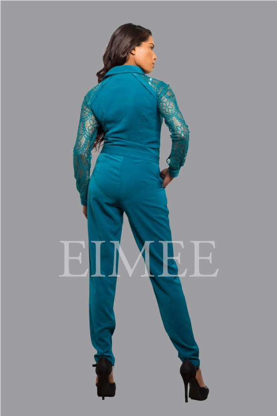 Elegant Women's Jumpsuit Playsuit Catsuit all in one Dress with Mesh Arms Alle