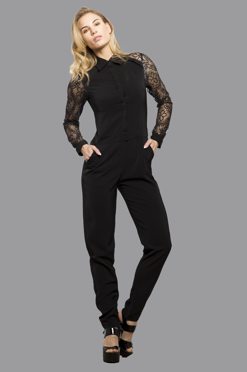 Elegant Women's Jumpsuit Playsuit Catsuit All in One Dress with Mesh Arms Alle Black