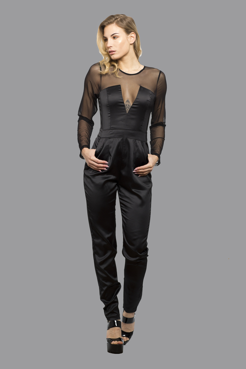 Elegant Womens Jumpsuit Playsuit Catsuit All in One Dress with Mesh Arms Alle Black
