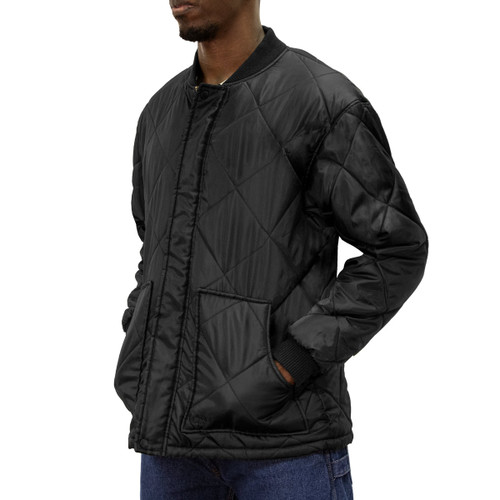Diamond Quilted Jacket Montana Softer Taffeta Inner Outer Lining Hand Patch Pockets Knit Cuffs Open Bottom