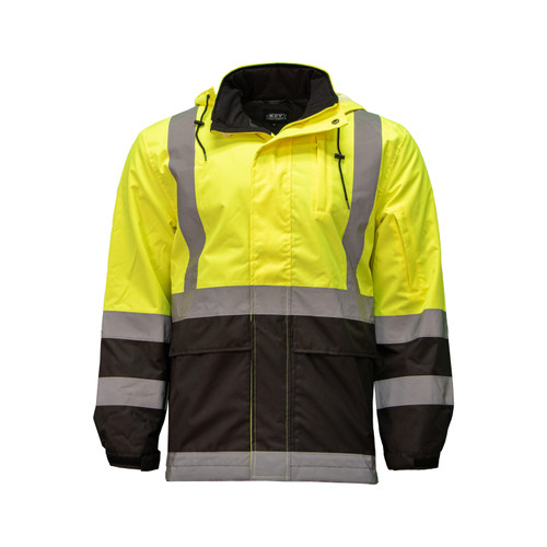 Hi-Visibility Sight Coat ANSI Class 2 ISEA 107-2015 Reflective Tape Velcro Sleeve Openings Zipper Pockets Removable Hood