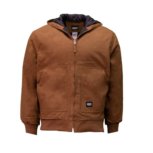 Insulated Hooded Duck Jacket  Water and Stain Resistant Fleece Lined Pockets Taffeta Lining Mid-Weight Bonded Polyester Fiberfil Insulation