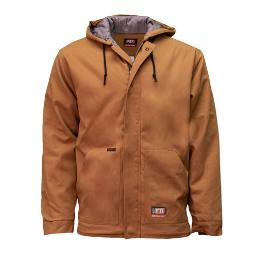 """FR Insulated Duck Hooded Jacket NFPA 2112 Cotton High Tenacity Nylon Airo Finish Adjustable Cuffs Flame Resistant HRC Level 4 Body Fabric ARC rating 13 Insulation ARC rating 24.5 Lining ARC rating 11"""