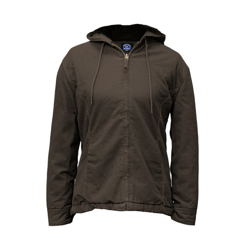 Women's Insulated Fleece Lined Hooded Jacket Cotton Duck Fleece Lining Interior Pockets Heavy-Duty Zipper