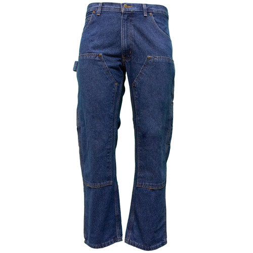 Contractor Double Front Denim Dungaree Relaxed Fit Heavyweight Reinforced Pockets Utility Pockets