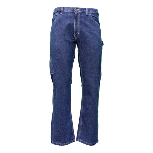 Ring Spun Denim Dungarees Relaxed Fit  Cotton Enzyme Washed Brass Button Utility Pockets