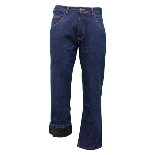 Performance Comfort Fleece Lined Jeans Cotton Polyester Relaxed Fit Brass Button