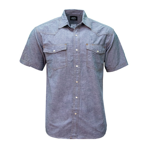 Blue Chambray Short Sleeve Shirt Cotton Washed Relaxed Fit Pocket Flaps Pencil Slot Pearl Snap
