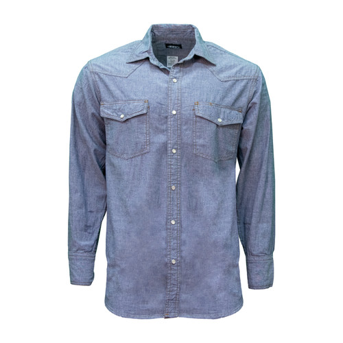 Blue Chambray Long Sleeve Shirt Cotton Washed Relaxed Fit Pocket Flaps Pencil Slot Pearl Snap